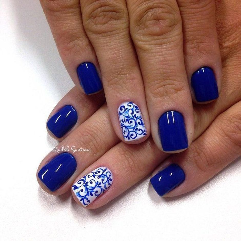 Sweet Blue Nails Ideas that Make Cool and Calm Appearance 80