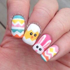 Cute and Easy Easter Nail Art Design Ideas 27