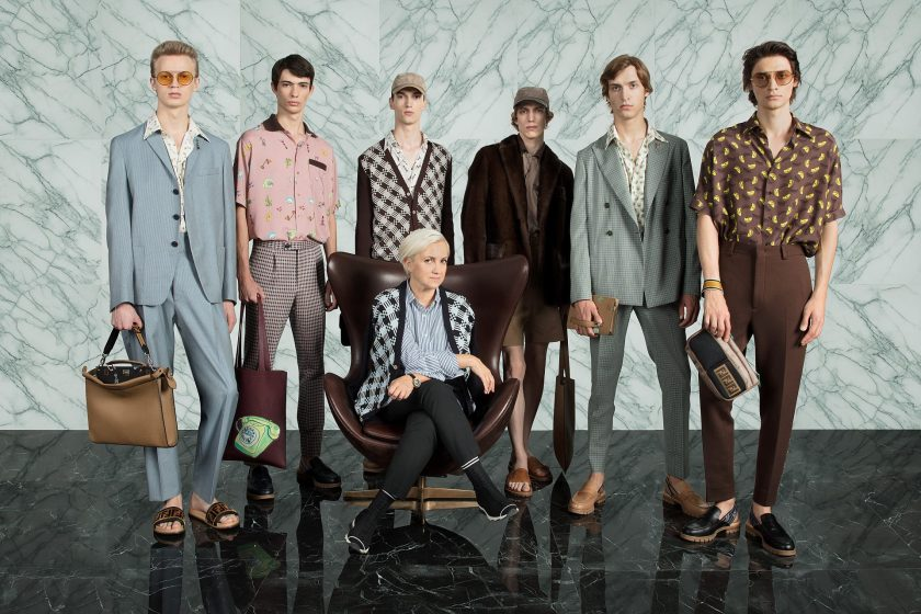 Fendi Silvia Venturini with models, SS18 Man Collection