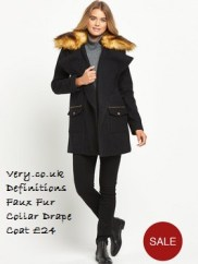 Very.co.uk - Definitions Faux Fur Collar Drape Coat £24.00