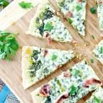 Dandelion Green Pesto, Prosciutto, and Fontina Flatbread