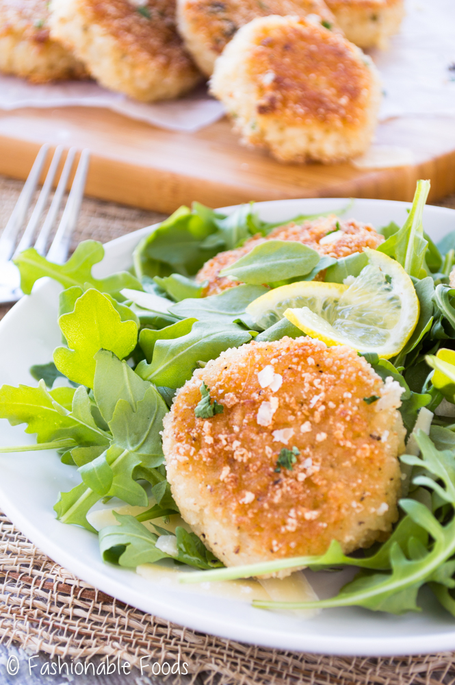 Risotto Cakes over Arugula