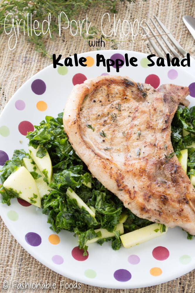 Grilled Pork Chops with Kale Apple Salad