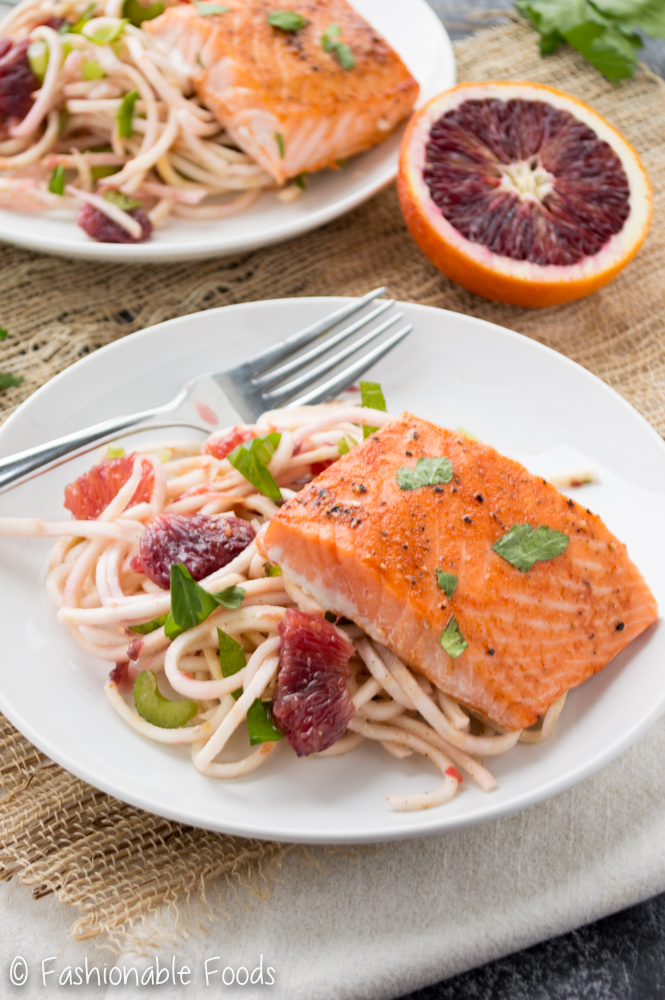 Salmon and Spiralized Celery Root Salad