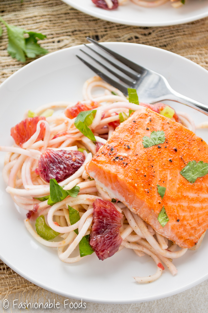 Sriracha Honey Salmon and Spiralized Celery Root Salad