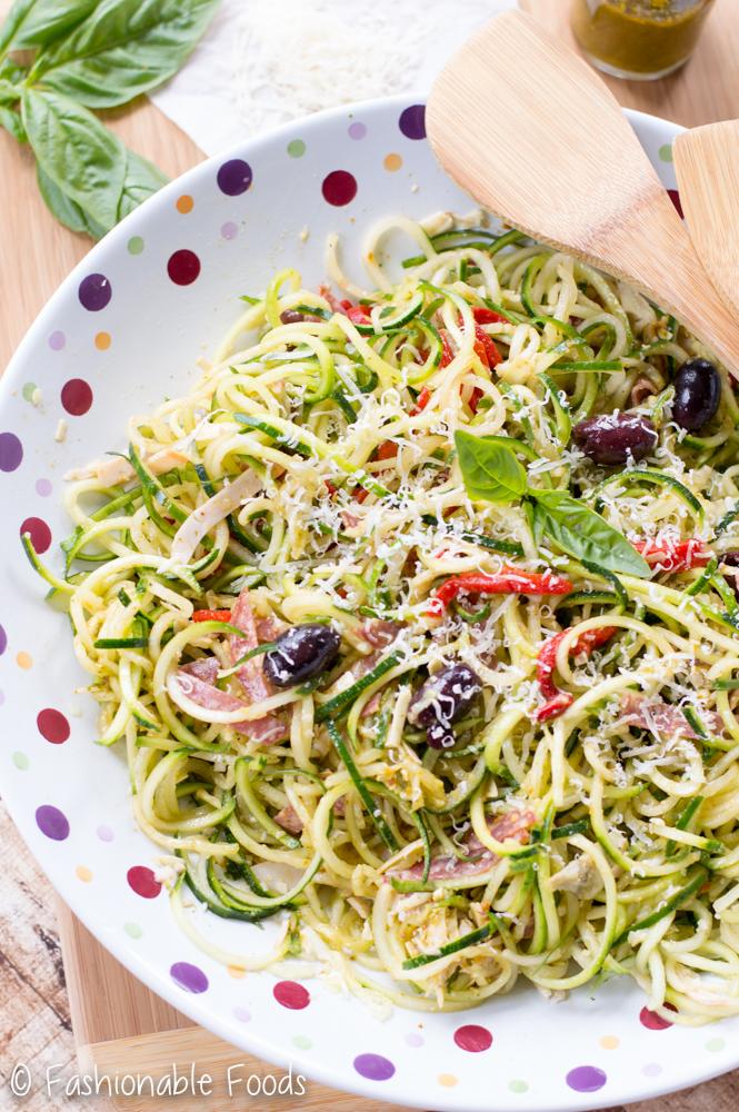 Zoodle Antipasto with Sun Dried Tomato Basil Vinaigrette