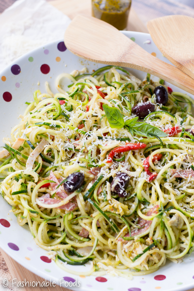 Zoodle Salad with Sun Dried Tomato Basil Vinaigrette