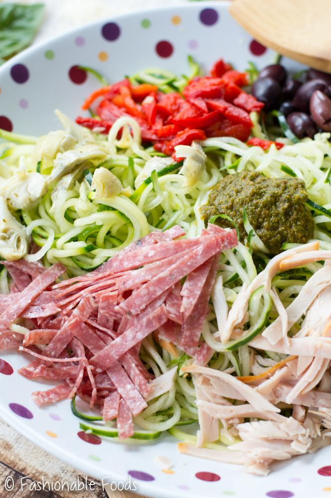 Zucchini Noodle Antipasto Salad with Sun Dried Tomato Basil Vinaigrette