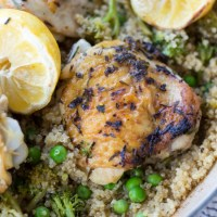 One Pan Lemon Rosemary Chicken Thighs and Quinoa