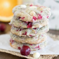 White Chocolate Cranberry Cookies {with Orange Glaze}