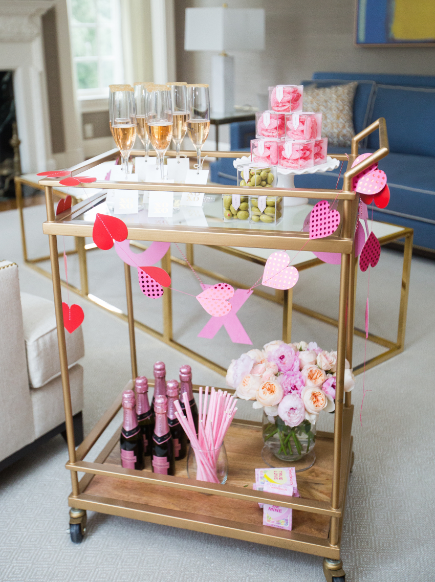 Valentines Day Bar Cart Fashionable Hostess