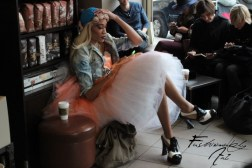 In the Starbucks next to the Lincoln Center, when you can find every fashionistas and fashionistos try to warm up