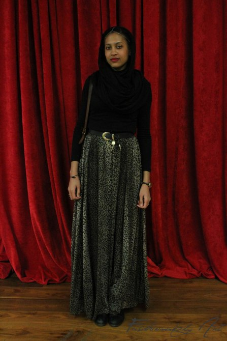 Me, wearing one of my favourite maxi skirt at the modest fashion show