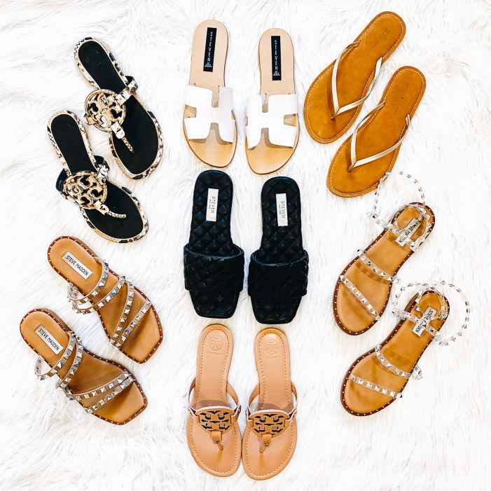 Top 7 Cute Spring Sandals for Women featured by top Pittsburgh fashion blogger, Fashionably Late Mom.   Spring Sandals by popular Pittsburgh fashion blog, Fashionably Late Mom: image of various slide sandals.