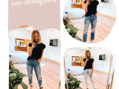 4 Favorite Pairs of Non Skinny Jeans for Women featured by top Pittsburgh mom fashion blogger, Fashionably Late Mom