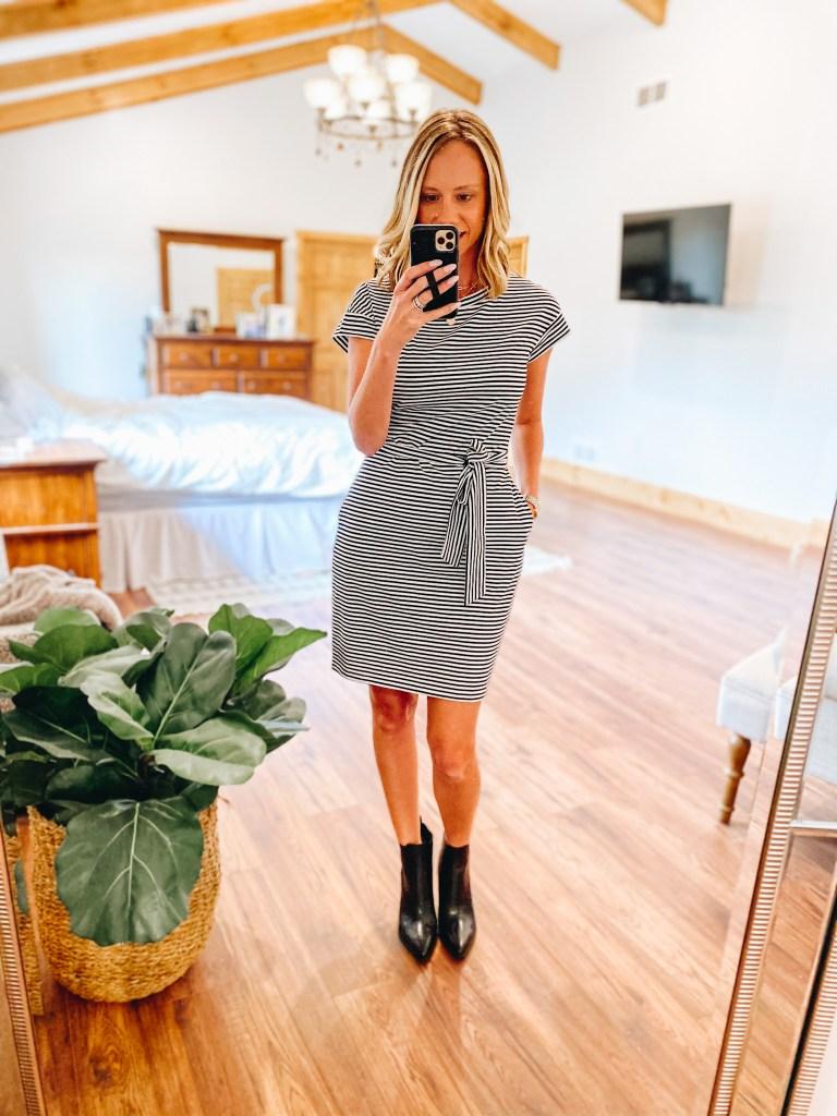 striped dress, black booties, workwear fashion