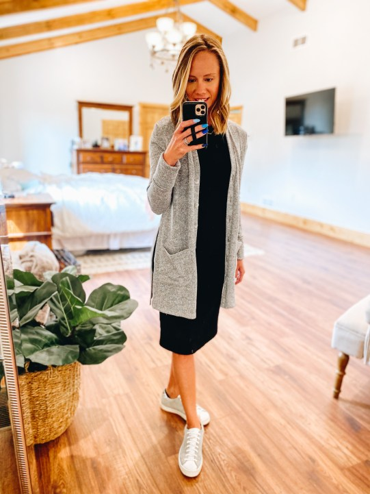 teacher style, cardigan, gibson look, just posted blog | Gibson Clothing by popular Pittsburgh fashion blog, Fashionably Late Mom: image of a woman wearing a black dress, grey and white sneakers, and grey longline cardigan.