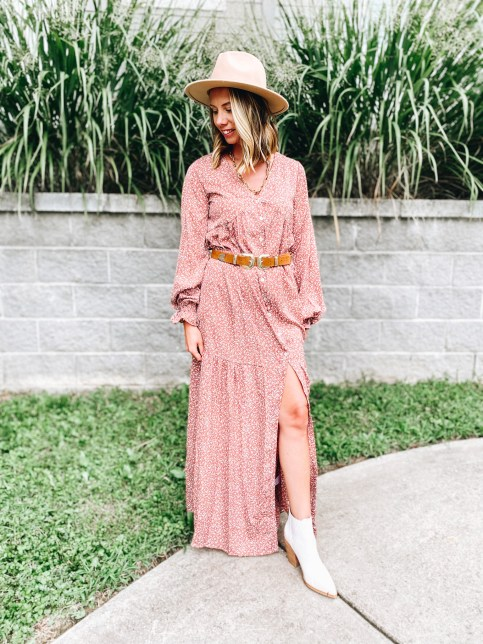 fall floral dress, boho style dress, pink lily   Pink Lily by popular Pittsburgh fashion blog, Fashionably Late Mom: image of a woman wearing a Pink Lilly  tan felt fedora hat, white ankle boots, red and white floral maxi dress and a western belt.