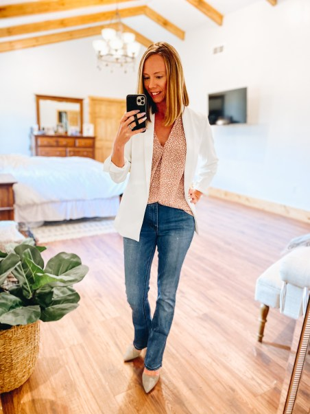 white blazer, bootcut jeans, shell, office outfit, Gibsonlook, The Recruiter Mom