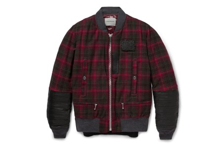 Undercover Leather-Trimmed Check Bomber Jacket