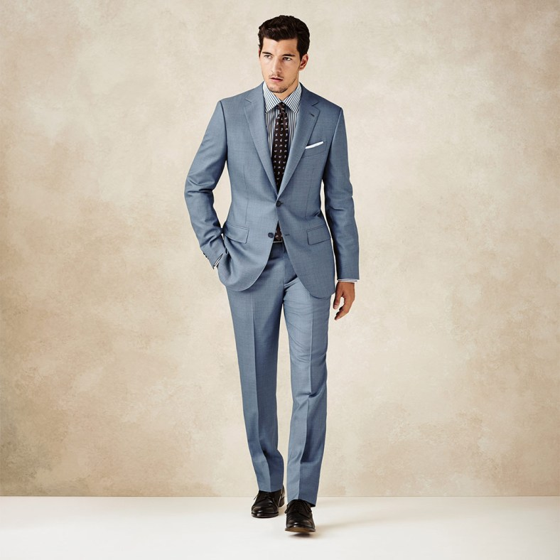 TROFEO 600 FABRIC Expertly crafted from the finest wool and silk fibres, Trofeo600 cloth highlights the distinguished craftsmanship and dedication to sartorial excellence of this sharp two piece suit. A true statement of debonair polish, bold accessories complete the sophisticated aesthetic.