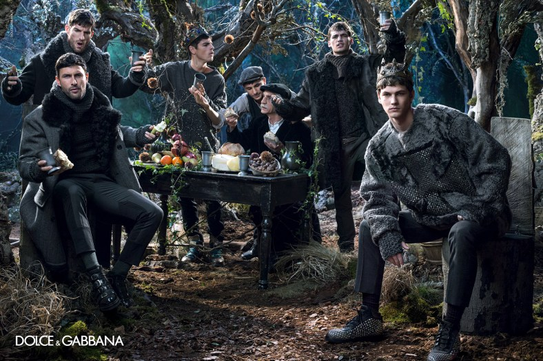 –Dolce & Gabbana designer Domenico Dolce photographs the Italian fashion label's fall/winter 2014 advertising campaign. Posing for the engaging campaign photos, models Evandro Soldati, Mariano Ontañon, Miks, Misa Patinszki, Noah Mills and Ryan Barrett come together to model the regal designs for fall/winter 2014. Using the Norman kings of Sicily as their muse for the season, designers Domenico Dolce and Stefano Gabbana dream up a rich outing with printed suiting and sportswear for a culturally rich treatment of menswear