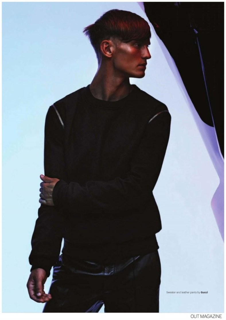 Swedish model Alexander Johansson snags a fashion editorial in the September 2014 edition of Out magazine. Photographed by Tetsu Kubota for an inspiring look at futuristic fall fashions, Alexander is styled by Grant Woolhead. From Calvin Klein Collection's sporty boxy shapes to an autumnal shimmer from Jil Sander, Alexander has no difficulty standing out from the crowd.