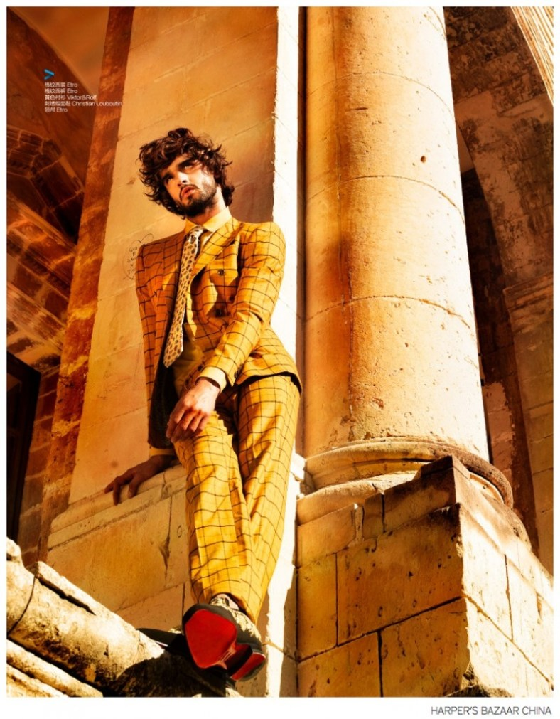 Fashion photographer Giovanni Squatriti turns up the warm hues for a new editorial featuring top Brazilian model Marlon Teixeira. The Way model connects with Squatriti for the September 2014 edition of Harper's Bazaar Man China. Putting a stylish foot forward, Marlon models a chic fall wardrobe that features sartorial designs from Versace, Etro and Dolce & Gabbana, among other luxury fashion brands.