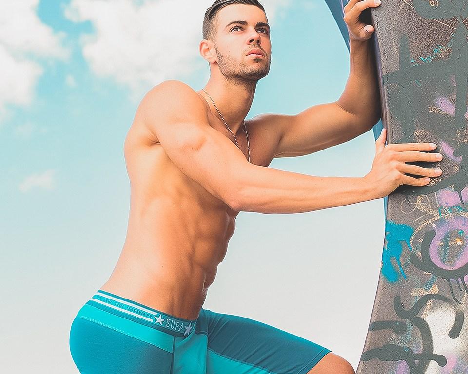 Cristian Romero is a well known model, besides Mister International Cadiz 2014. The photos were taken in Tenerife, Canary Islands. He's wearing sportwear, underwear and swimwear by 2eros and Supawear.