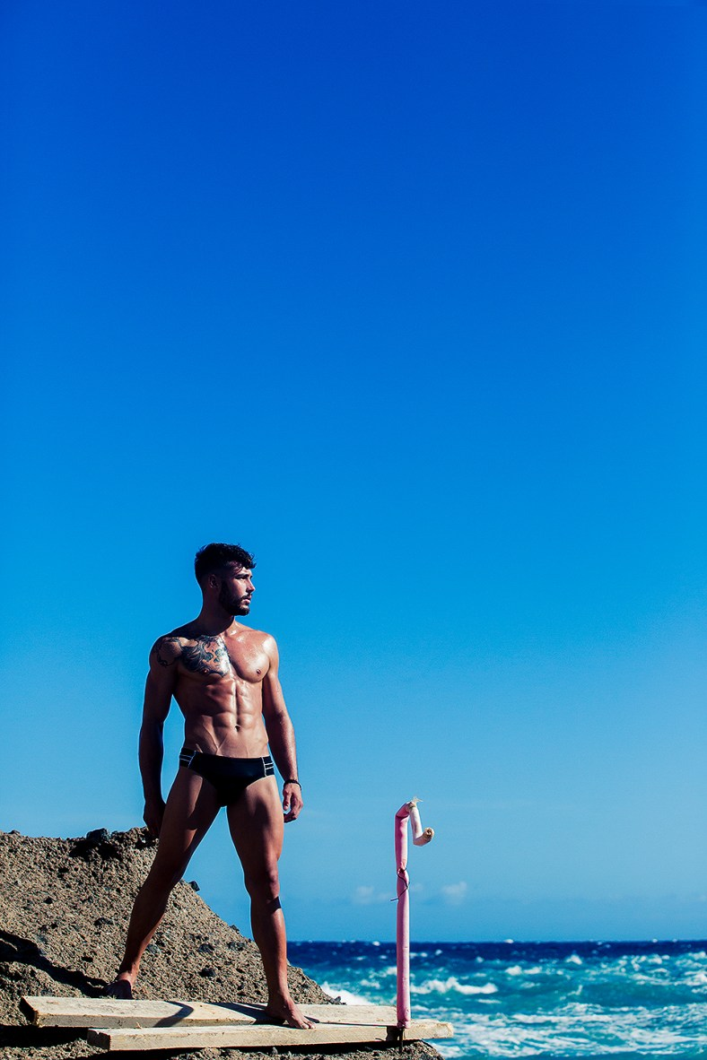 ST33LE enlists Spanish stunner Iago Labarta to model its latest 2014 collection. The shot is by Adrián C. Martín, assisted by David Diaz at Tenerife.