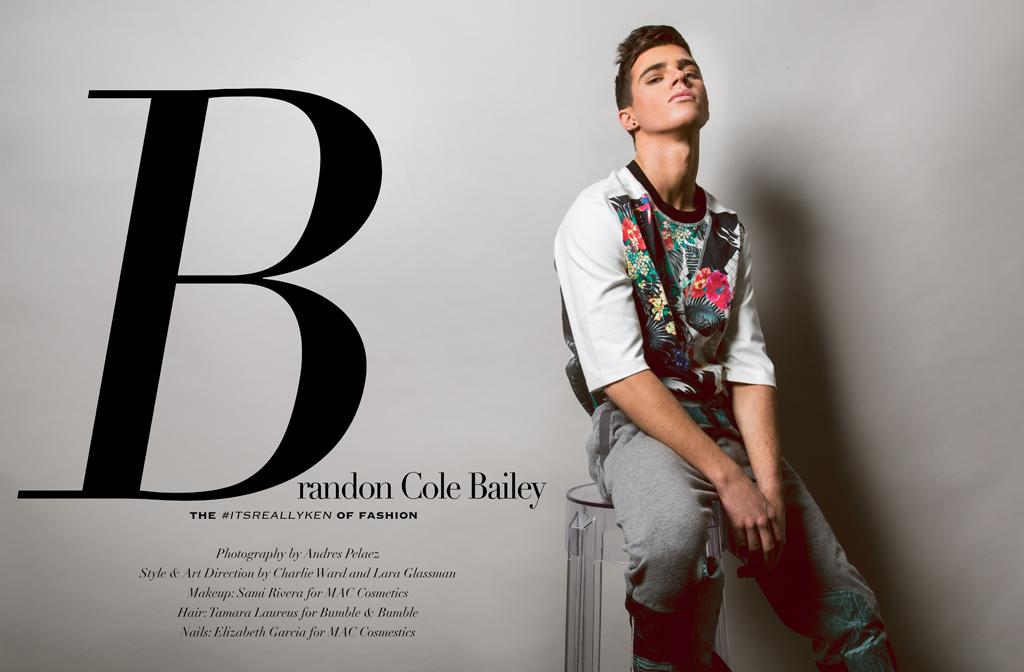 The #ITSREALLYKEN of Fashion Brandon Cole Bailey cleans up for our latest exclusive, dressed in smart fashions. Photographed by Andres Pelaez, Brandon hits the studio with stylist and Art Director Charlie Ward and Lara Glassman. But that is not all my folks, Brandon Bailey has a coffee table book coming out by the name of ITSREALLYKEN published by NEXT Publishing is clear that we are anxious to discover. This exclusive could not be happen without the credits of Makeup by Sami Rivera for MAC Cosmetics, Hair by Tamara Laureus for Bumble & Bumble and nails by Elizabeth Garcia for MAC Cosmetics.
