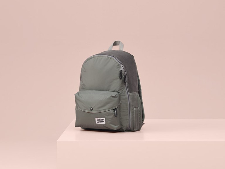 Bomber Backpack – The bomber jacket is reworked as a backpack with all its codes intact – the nylon fabric, orange lining and rib trimming.