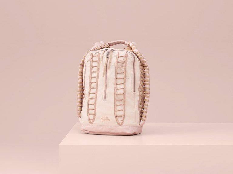 Pilot Backpack (Limited to 125 pieces) – The supersonic jet pilot uniform is inspired by a play on technical lacing and corsetry. The nude version clearly evokes the Gaultier corsetry.