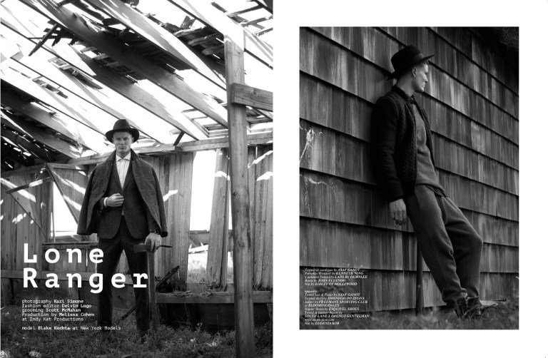 """Fashion photographer Karl Simone delivered exquisite fine captures for Client Style Guide USA in """"Lone Ranger"""" starred by Blake Kuchta from New York Models, styled by Delvin Lugo in luxury garments. Grooming by Scott McMahan and Production by Melissa Cohen at indy Kat Productions."""