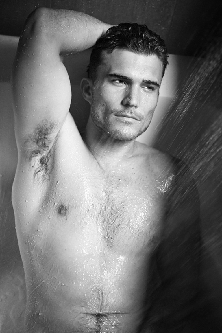 """Photographer Sara Davis and model/actor Robby Stahl of Wilhelmina Model Management hit the sheets and the shower for an intimate story, centered on Robby's amazing ex-Division1 baseball body, classic black Calvin Klein briefs and a simple white cotton tee. Robby is now Executive Producer for his own web series called """"Breaking In"""" which he also stars in. You can check it out and get updates at www.breakinginseries.com / Grooming by Legend (Wilhelmina) using Garnier Hair and Skin care. Team Credits Photography by Sara Davis www.saradavisphotography.com Instagram: @sdavisphoto"""