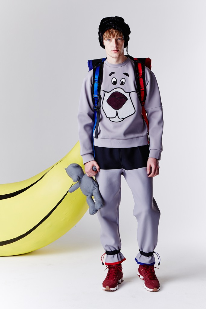 """London-based sportswear designer Bobby Abley stayed true to his upbeat and cartoonish DNA with a fall lineup entitled Jungle Book. Abley was inspired by the idea of literal jungle references, but blended with the urban jungle he experienced in New York. """"I started to think of the concrete jungle and played with pinstripe suiting on the city workers. My logo is a teddy bear so I used teddy bear fabrics and incorporated in my athletic tailoring."""""""