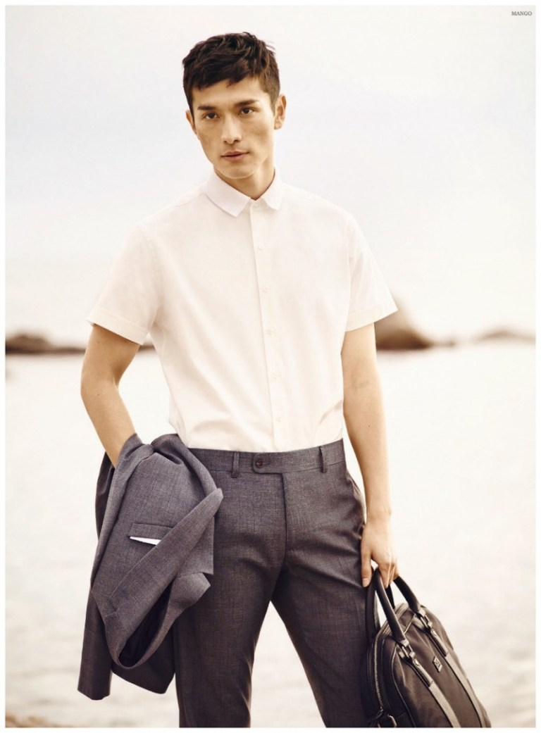 Presenting Mango Spring/Summer 2015 modeling Daisuke Ueda (Sight Management). Classic suit style in different colors and fabrics, tailoring trousers for an elegance gentleman.