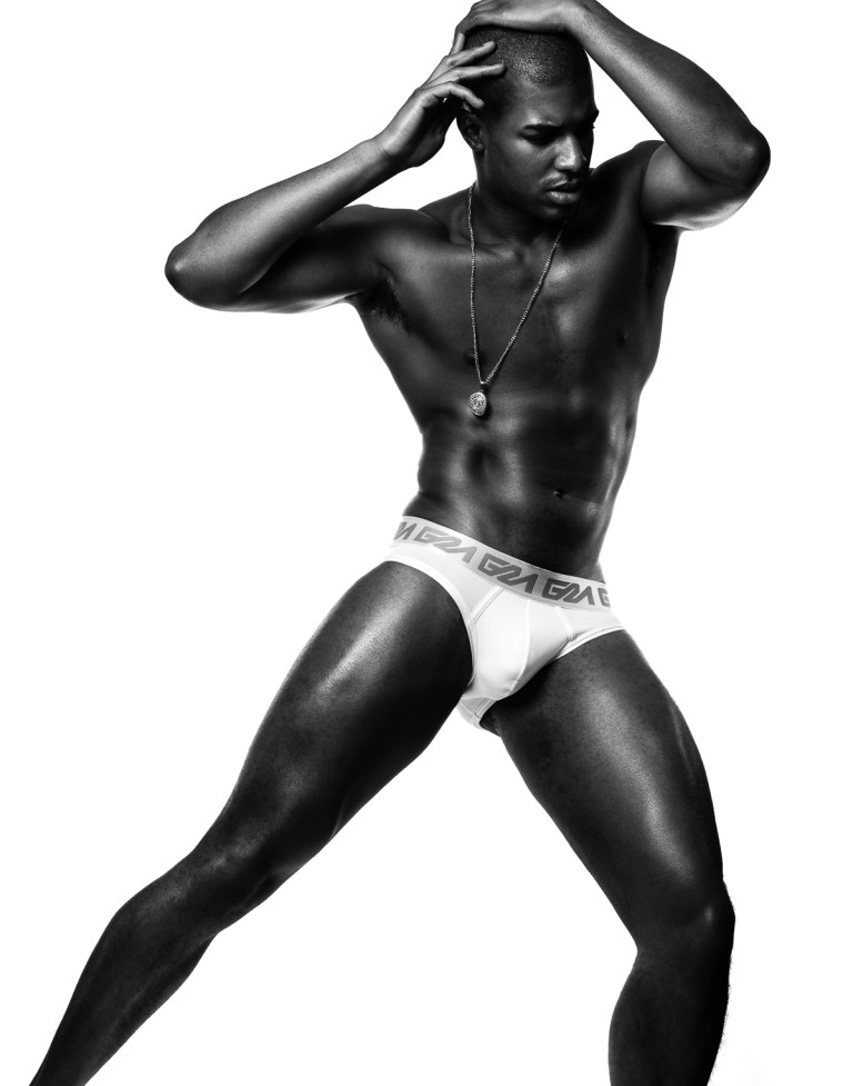 Saturday night live with recent work of photographer Brian Jamie and newcomer Darius Williams, the beautiful fresh face is wearing Garçon Model collins briefs and Versace necklace. He's signed by Soul Artist Management.