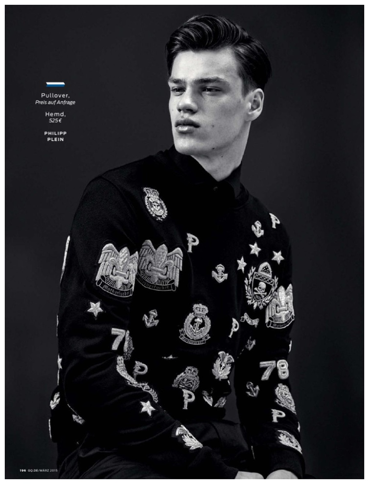 Models Alexander Beck, Dominik Bauer, Filip Hrivnak, Harry Goodwins and O'Shea Robertson grace the pages of GQ Germany's March 2015 issue with a collections story lensed by fashion photographer Markus Pritzi. Honing in on the spring-summer 2015 menswear collections, stylist Tobias Frericks brings together a series of graphic looks, featuring the likes of Givenchy, Paul Smith and Louis Vuitton.