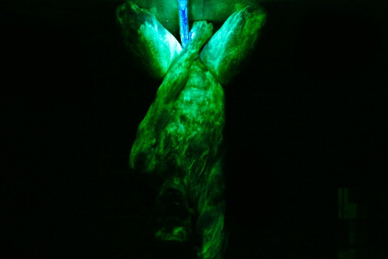 Beautiful dynamic fluorescent session entitled YAGÉ shot by Charles Quiles with Kim David Smith posing nude for this artistic session is like you can studying the body male form in different angles and scales.