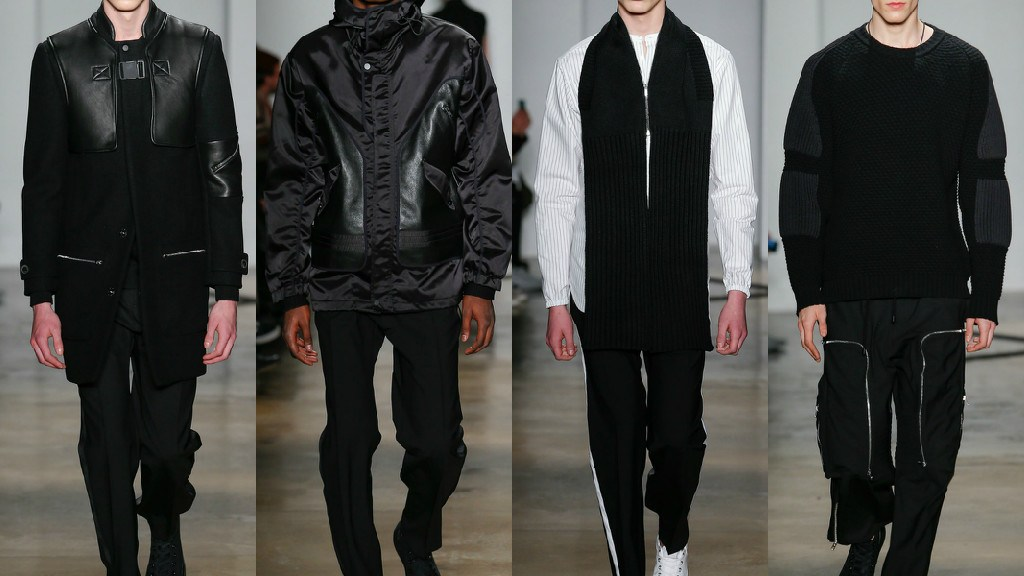 Sports flashes on contemporary tailoring techniques are proposed for Tim Coppens winter collection: color blocks, bags in contrast, coats with leather jackets and long inject dynamism into a collection full of formality.