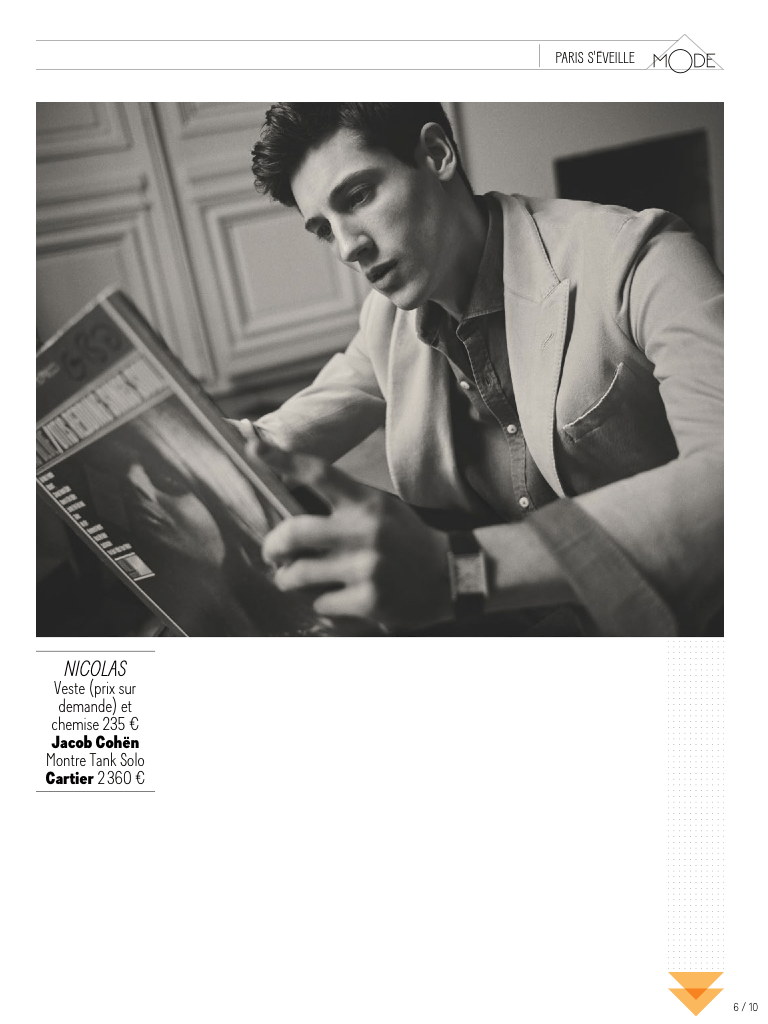 GQ France April 2015 presents Nicolas Ripoll  Photographer by Arnaud Pyvka. Stylist: James Sleaford and Laetitia Paul, Hair: Fréderic Kebbabi and Make-up: Kathy le Sant.