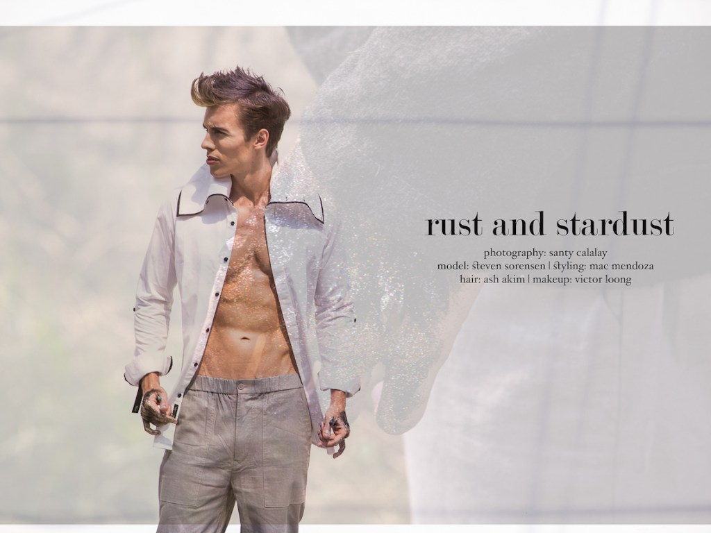 """rust and stardust"" photography: Santy Calalay model: Steven Sorensen styling: Mac Mendoza hair: Ash Akim makeup: Victor Loong wearing designs by Ulysses King and Arnold Galang."