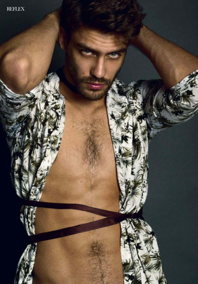 Actor and model Juan Guilera at EP Bookers posing for an exclusive shoot for Reflex Homme April 2015 edition captured by Ari Mendes with total looks by Mahatma D.