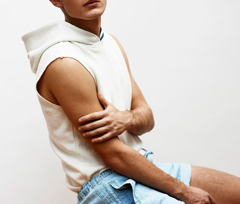 Bo Develius shot by Tetsu Kubota and styled by Grant Woolhead, for Out magazine.