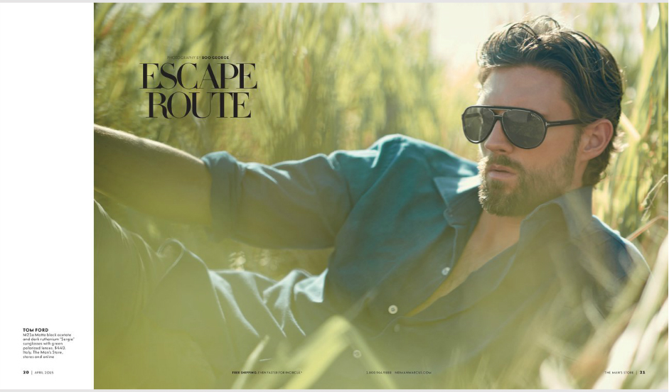 "Neiman Marcus April 2015 presents ""Escape Route"" modeling RJ Rogenski shot by Photographer Boo George and Product Styling & Set Design by Jay Evers"