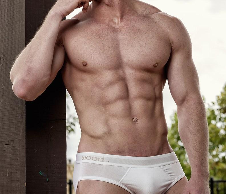 Muscular fitness model Alex C.whos wearing Wood underwear pieces a shot by Armando Adajar. Happy Hump Day!