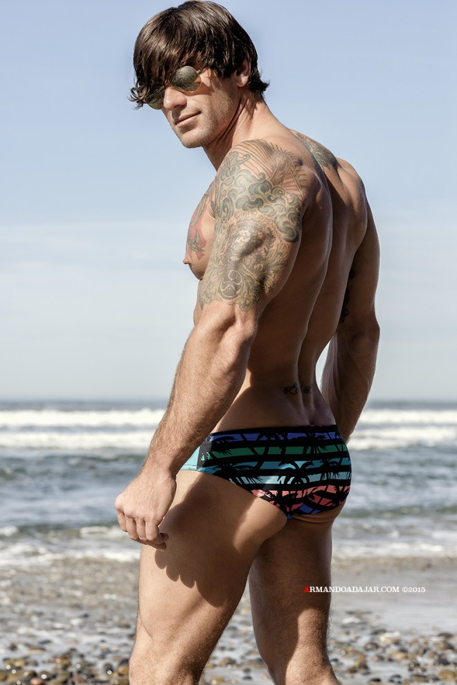 Clad in Timoteo's pieces, very attractive model with a spectacular physical fitness, Bobby Creighton, poses for a beach session by photographer Armando Adajar.