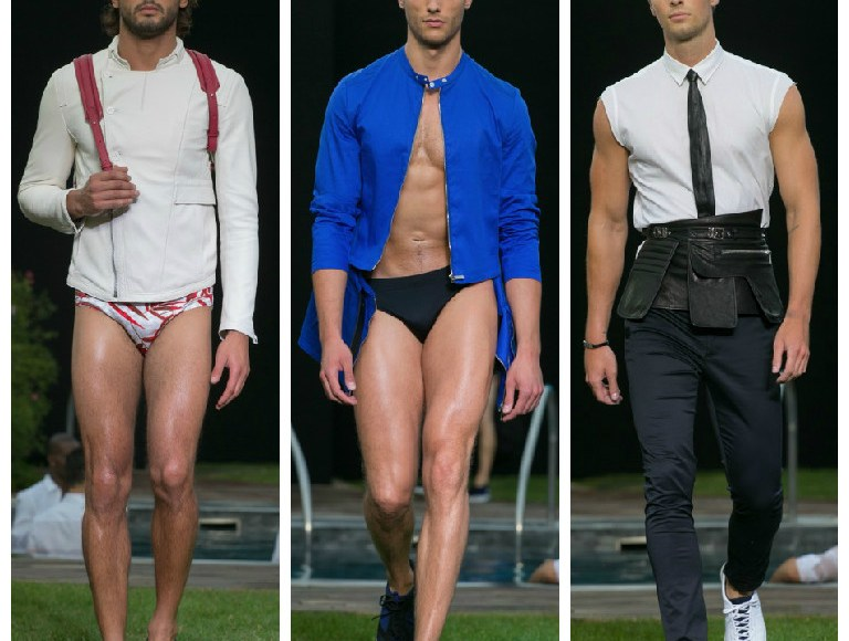 """Today starts Milan Fashion Week, obviously we're gonna post all about it. First is Dirk Bikkembergs' Spring/Summer 2016 man is on a quest for balance and overall self-renewal. Set in the gardens of Terme Milano, Bikkembergs' """"sport couture"""" collection possessed references to the zen gardens of the Orient. Bamboo prints were plastered onto foulards, pocket squares, and jacquard tuxedo jackets that were paired with the tight men's swimming trunks that Bikkembergs' muscular models show off so well. Mesh cotton weave techniques were patterned into asymmetrical summer jackets. Synthetic and transparent waterproof materials were used for similar coats, injecting a hint of what Bikkembergs does best: urban sportswear. Fit for a man who has no qualms about showing off his six pack all day long, the lineup underscored the physical traits of strength and physicality through black leather arm sleeves that could be considered warrior attire or fetish clothing. Torn between his pure and fighting self, the Bikkembegrs man saw his sins and his tormented soul washed anew, when at the end of the show, bare-chested models in red trunks emerged from the hot tub – the sort of theatrical relief that makes you just want to dive right in."""