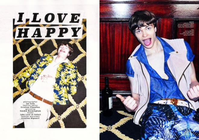"""Super model Jake Love embraces this lovely editorial for Carbon Copy photographed by Ian Cole """"I Love Happy"""" is in the Issue no.  21 S/S 2015. Styled by Cristina Planelles, grooming by Sandra Bermingham and charming Jake Love at Select."""